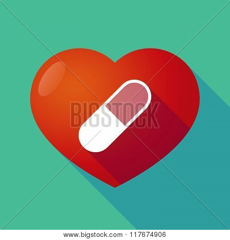 Long Shadow Red Heart Witha Pill
