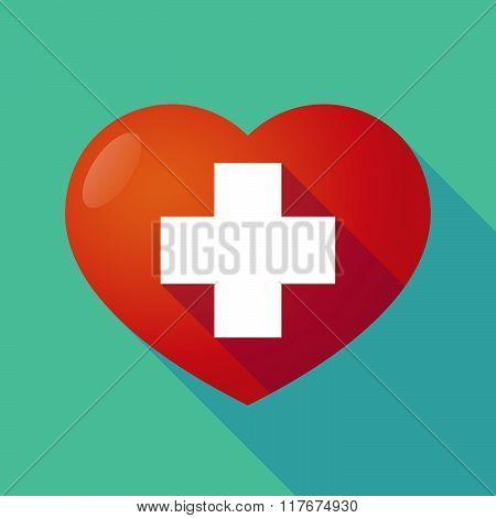 Long Shadow Red Heart With  A Pharmacy Sign