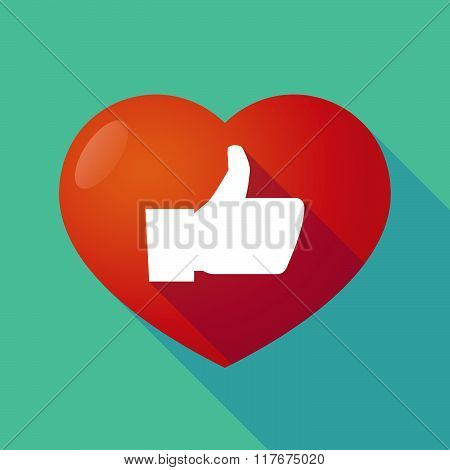 Long Shadow Red Heart With  A Thumb Up Hand