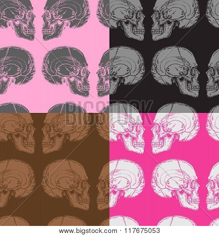 Seamless Pattern With Skulls In Pink, Grey, White, Black And Brown Colors.eps