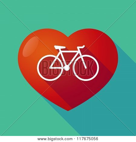 Long Shadow Red Heart With  A Bicycle