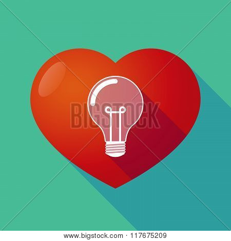 Long Shadow Red Heart With  A Light Bulb