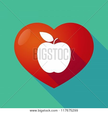 Long Shadow Red Heart With  An Apple