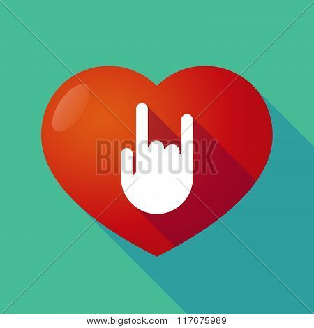 Long Shadow Red Heart With  A Rocking Hand