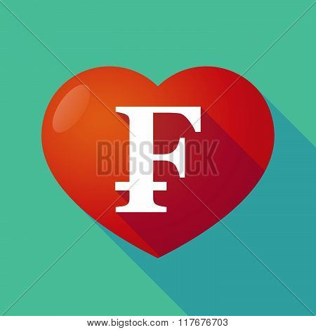 Long Shadow Red Heart With  A Swiss Franc Sign
