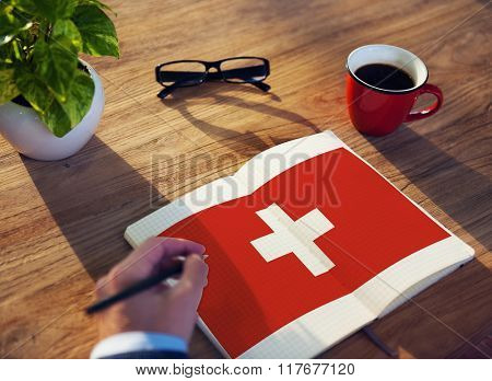 Switzerland National Flag Studying Reading Book Concept
