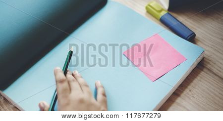 Human Hand Writing Working Copy Space Concept