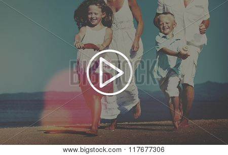 Family Running Playful Vacation Beach Start Concept