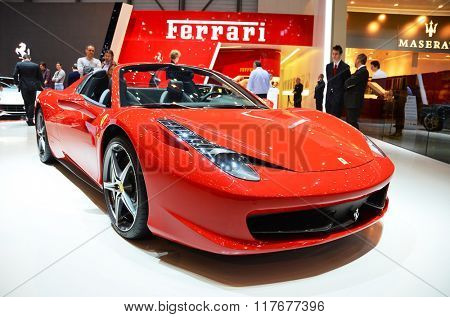 GENEVA - MARCH 12: Ferrari Berlinerra at 82nd International Motor Show on March 12, 2012 in Geneva, Switzerland