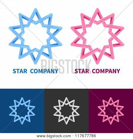Impossible Geometric Star Logo Set. Colored, Black And White, Gr