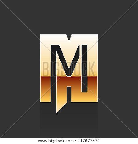 Vector Gold Letter M Shape Logo Element