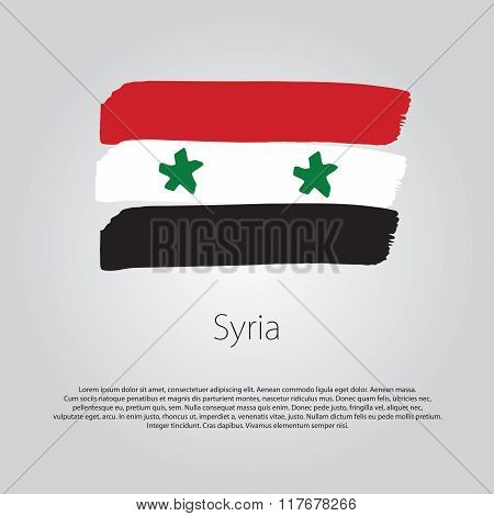Syria Flag With Colored Hand Drawn Lines In Vector Format