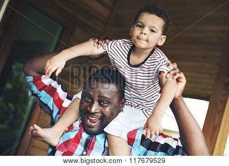 Father Son Bonding Parent Togetherness Cheerful Concept