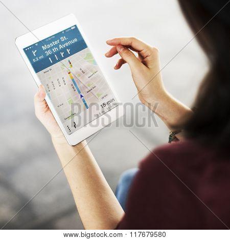 Woman GPS Map Direction Navigation Traveling Digital Tablet Concept