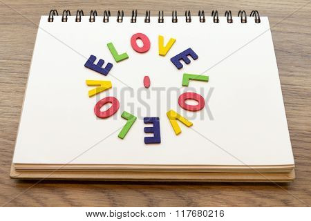 Wood Colorful Letter Word Love Lay Down Notebook On Wood Desk