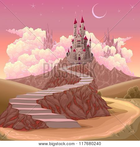 Fantasy landscape with castle. Cartoon vector illustration