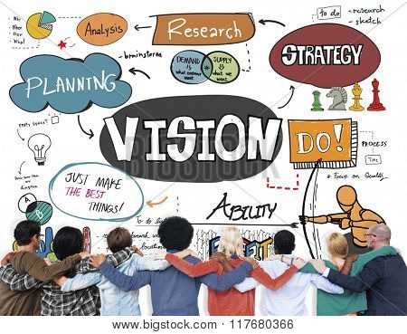 Vision Business Strategy Research Drawing Concept