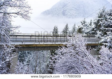 Road Bridge Or Viaduct In Snowy Mountains