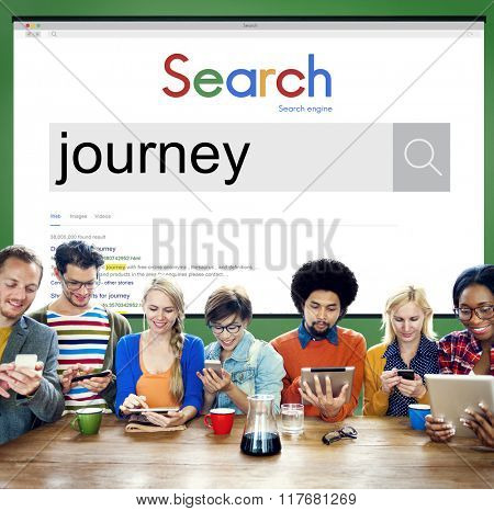 Team Using Technology Browsing Search Working Concept