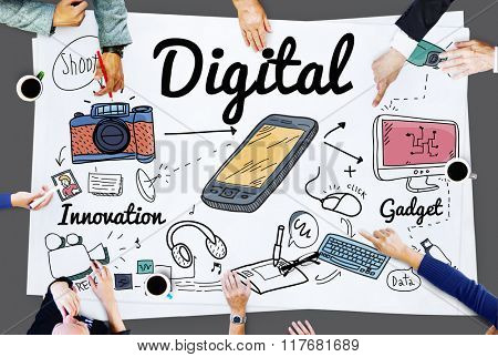 Digital Gadget Innovation Sharing Media Concept