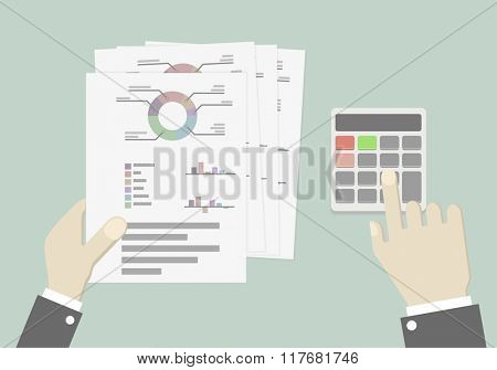 minimalistic illustration of hands of a businessman with charts and calculator, business plan concept, eps10 vector