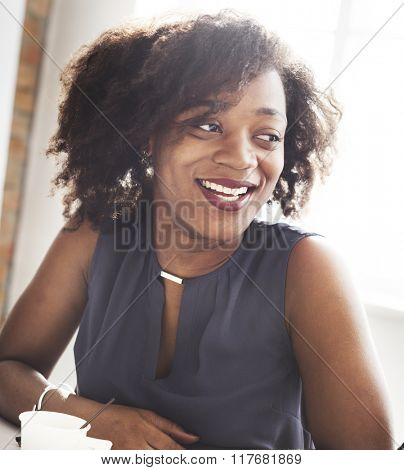 African Descent Woman Smiling Beautiful Concept