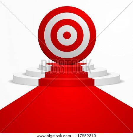 illustration of a Target placed on top of a round podium with a red carpet leading to it, eps10 vector