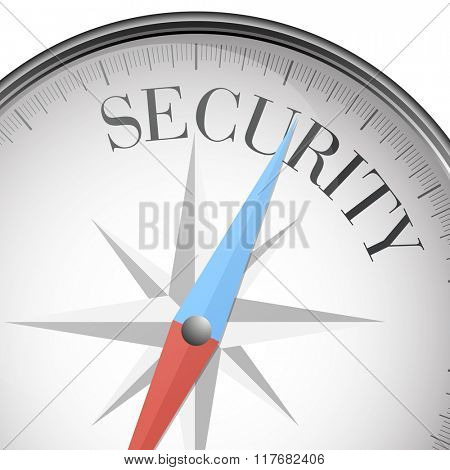 detailed illustration of a compass with Security text, eps10 vector