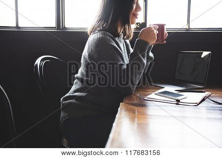 Asian Lady Enjoying Cup Coffee Cafe Concept