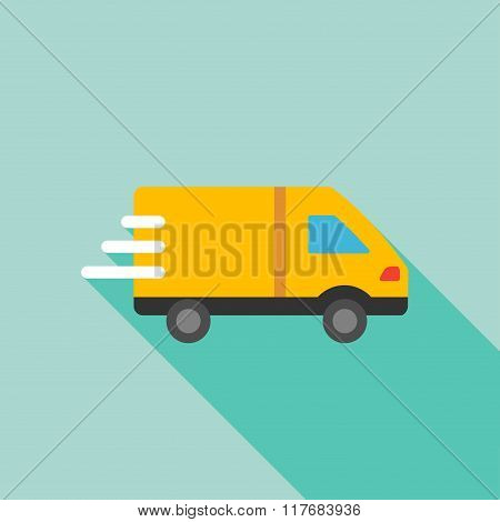 Delivery Van Flat Long Shadow Square Icon