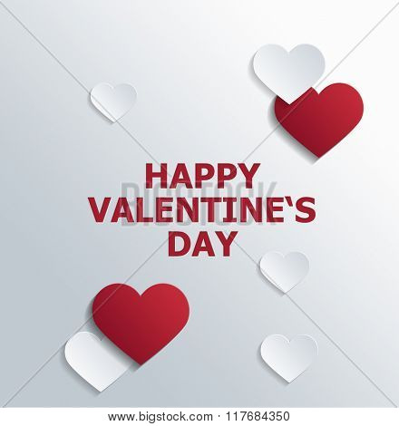 Greeting Card Graphic - Happy Valentine Message Printed in Red with Red and White Cut Out Paper Hearts Arranged on Plain White Background. 3d Rendering