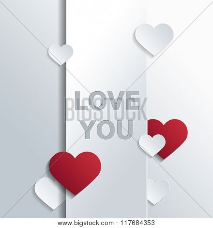 Valentine Greeting Card Graphic - Message of Love Printed in White on Vertical Banner and Surrounded by Red and White Paper Cut Out Hearts of Various Sizes on White Background. 3d Rendering