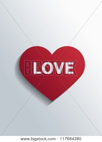 Red cut out paper heart with the word Love on a grey white gradient background as a card for a sweetheart on an anniversary or Valentines. 3d Rendering