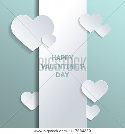 Valentine Greeting Card Graphic - Warm Greeting Printed in Turquoise on Vertical Banner and Surrounded by White Paper Cut Out Hearts of Various Sizes on Turquoise Background. 3d Rendering