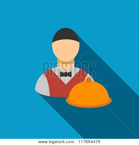 Waiter Flat Long Shadow Square Icon