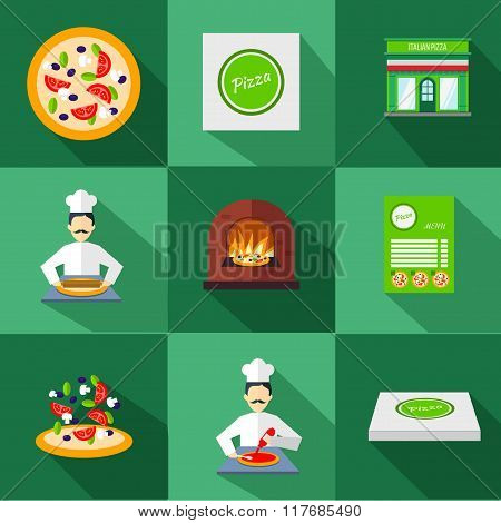 Pizza Icons With Pizzeria And Chef Set