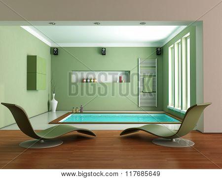 Green Minimalist Luxury Bathroom