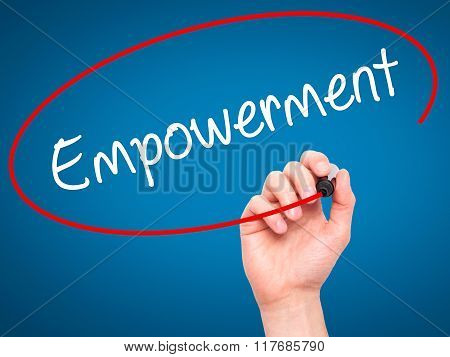 Man Hand Writing Empowerment With Black Marker On Visual Screen.
