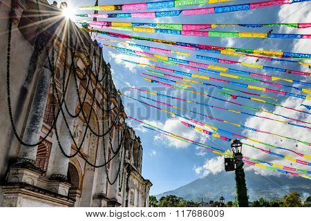 Sunlight On Church & Volcano Near Antigua, Guatemala