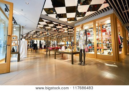 HONG KONG - JANUARY 26, 2016: inside of Moschino store at Elements Shopping Mall. Elements is a large shopping mall located on 1 Austin Road West, Tsim Sha Tsui, Kowloon, Hong Kong