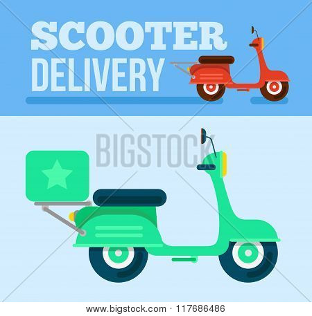 Logistics And Delivery Scooter Trendy Background