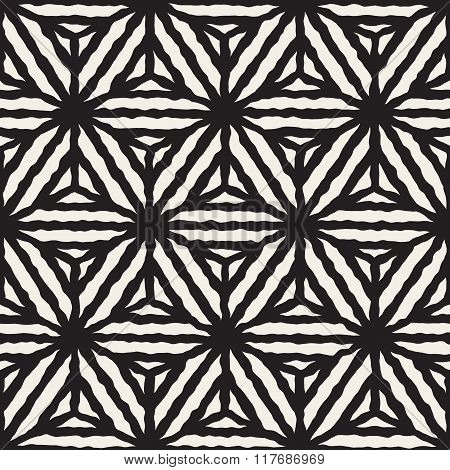 Vector Seamless Black And White Hand Painted Line Geometric Star Stripes Pattern