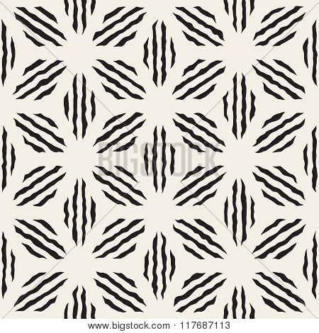 Vector Seamless Black And White Hand Painted Line Geometric Petal Stripes Pattern