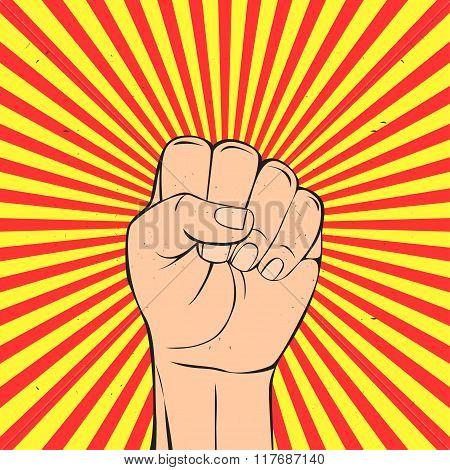 Protest fist in retro style.