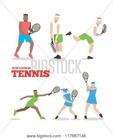 Tennis Figure Peoples With Tennis Racket Set.