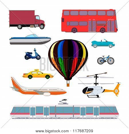 Transport Vector Set. Taxi, Airplane, Helicopter, Balloon, Train, Train, Tram, Truck, Moped, Scooter