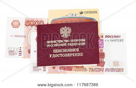 Russian Pension Certificate, Credit Card And Money Over White Background.  Inscription On Certificat