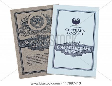Savings Book Of Ussr And Savings Book Of Saving Bank Of Russian Federation