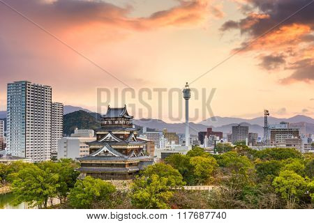 Hiroshima, Japan morning cityscape with the castle.