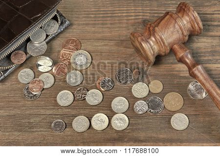 Opened Male Wallet, British  Coins And Judges Gavel On Wood